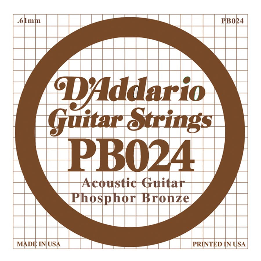 Daddario PB-024 single phosphor bronze wound string, .024