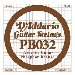 Daddario PB-032 single phosphor bronze wound string, .032