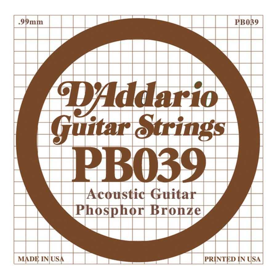 Daddario PB-039 single phosphor bronze wound string, .039