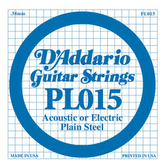 Daddario PL-015 single plain steel string, .015