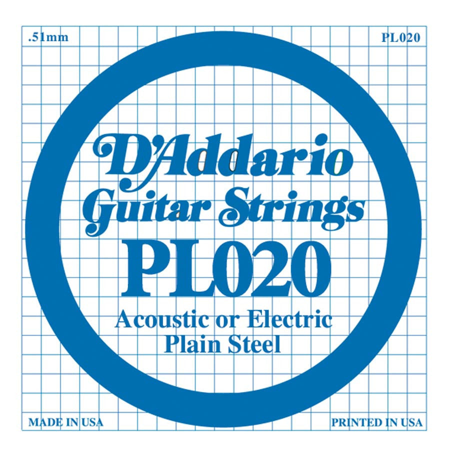 Daddario PL-020 single plain steel string, .020