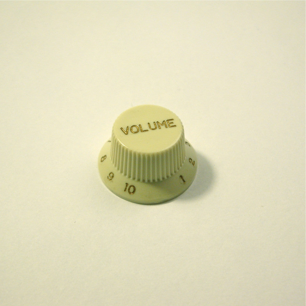 Volume knob, Strat-style, mint green, gold text