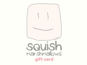 "Squish Marshmallows logo with the words ""gift card"" written underneath"