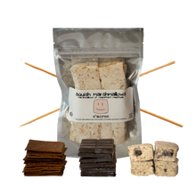 Load image into Gallery viewer, DIY S'Mores Kit includes Choice of 6-Pack marshmallow flavor, 12 homemade graham crackers, 3 bars of chocolate, 6 bamboo roasting skewers, Makes 6 individual s'mores