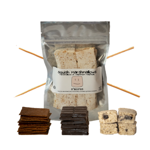 DIY S'Mores Kit includes Choice of 6-Pack marshmallow flavor, 12 homemade graham crackers, 3 bars of chocolate, 6 bamboo roasting skewers, Makes 6 individual s'mores