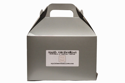 Silver gable box with the Squish Marshmallows logo label on the front
