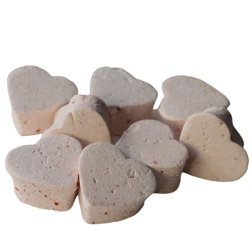 small strawberry marshmallows shaped like hearts