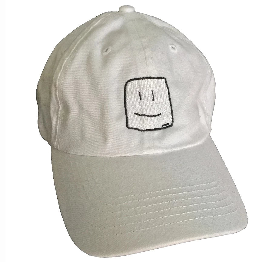 White baseball cap with black stitching of the Squish Marshmallows logo in front, and name in the back
