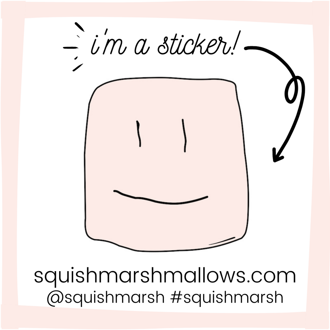 sticker card with the squish logo face in the center