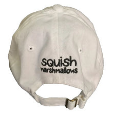 Load image into Gallery viewer, White baseball cap with black stitching of the Squish Marshmallows logo in front, and name in the back