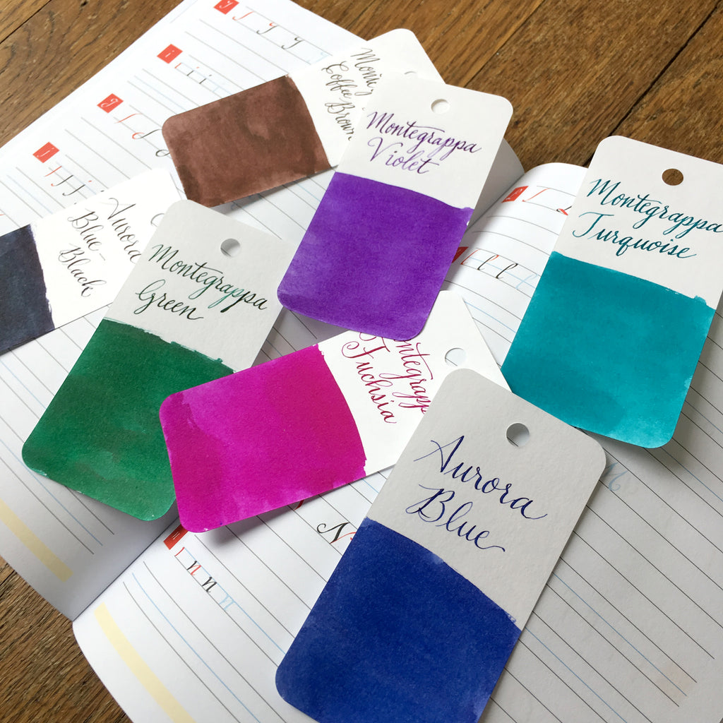 brause calligraphy practice notebook and ink swatches