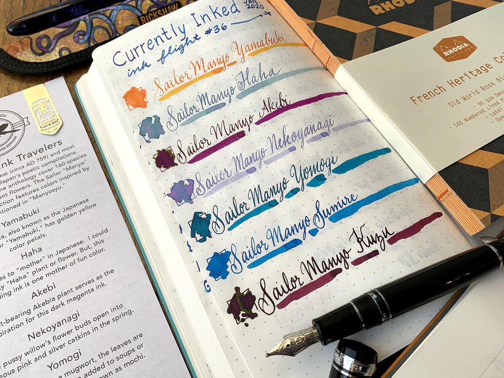 Sailor Manyo fountain pen inks