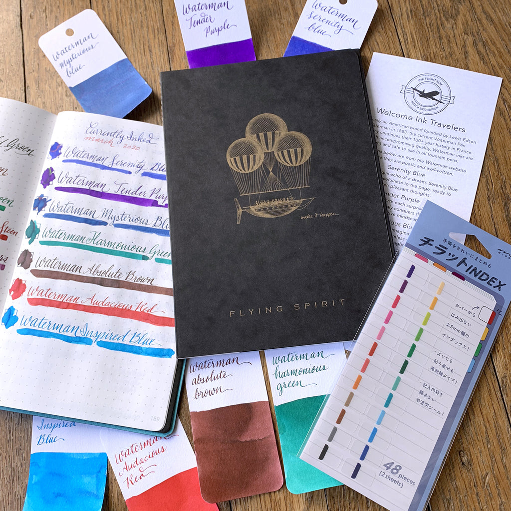 Ink Flight box 38 Clairefontaine Flying Spirit Notebooks Midori Stickers and Ink Samples