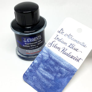 De Atramentis Pearlescent Indian Blue Silver Bottled Ink 35mL