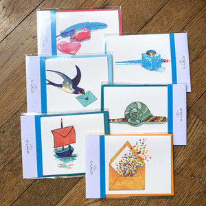 G. Lalo Straight-Edge Fold Over Cards with Envelopes - Set of 6 designs
