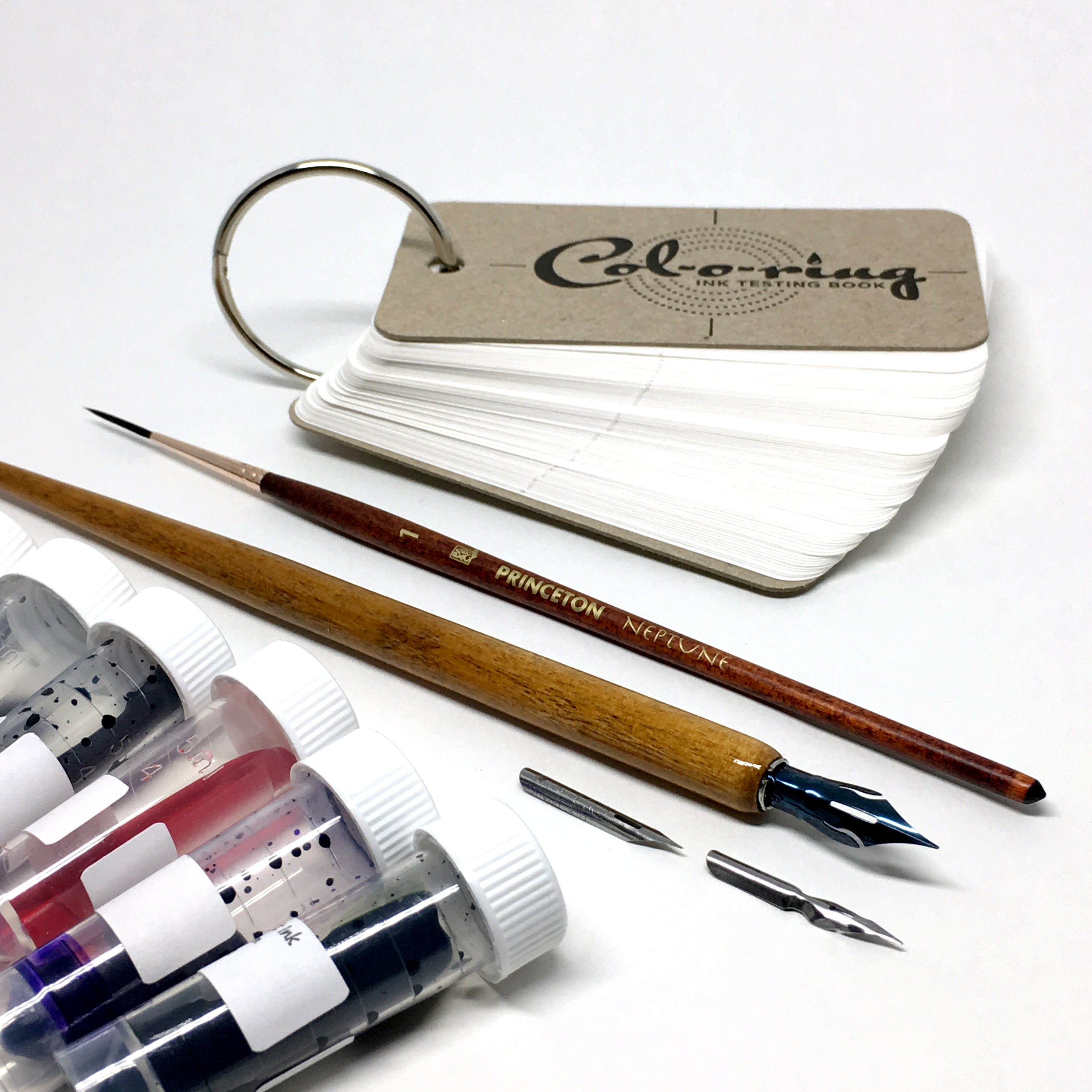 Ink Flight Starter Box with Col-O-Ring, Brush, and Dip Pen