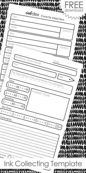 InkJournal Pocket Ink Collecting Printable Template