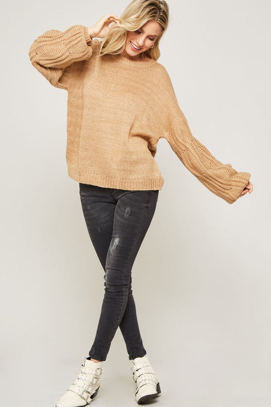 Wavy Knit Bubble Sleeves Sweater