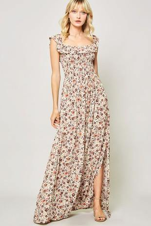 Floral Smocked Maxi Dress - Nigh Road