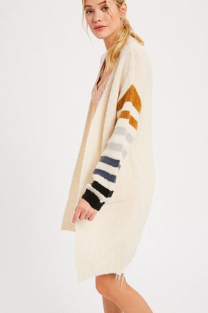 Multi Colored Knit Long Cardigan