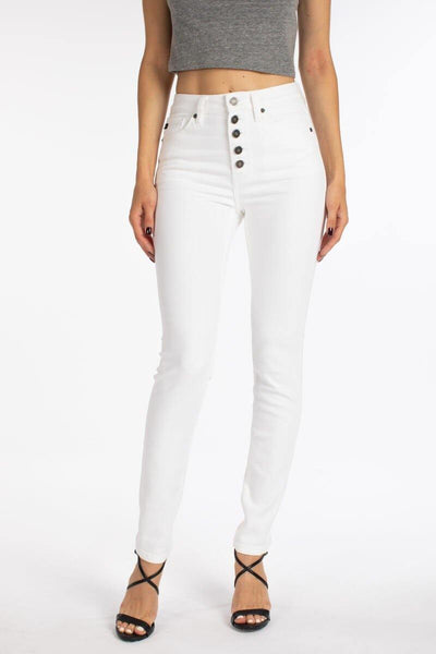 Skinny White Button Front Jean
