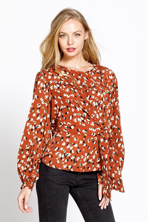 LEOPARD TIE SIDE WOVEN BLOUSE TOP