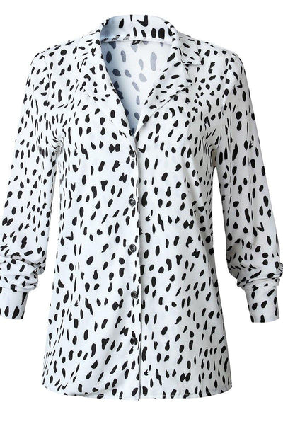 Black and White Leopard Print Button Down
