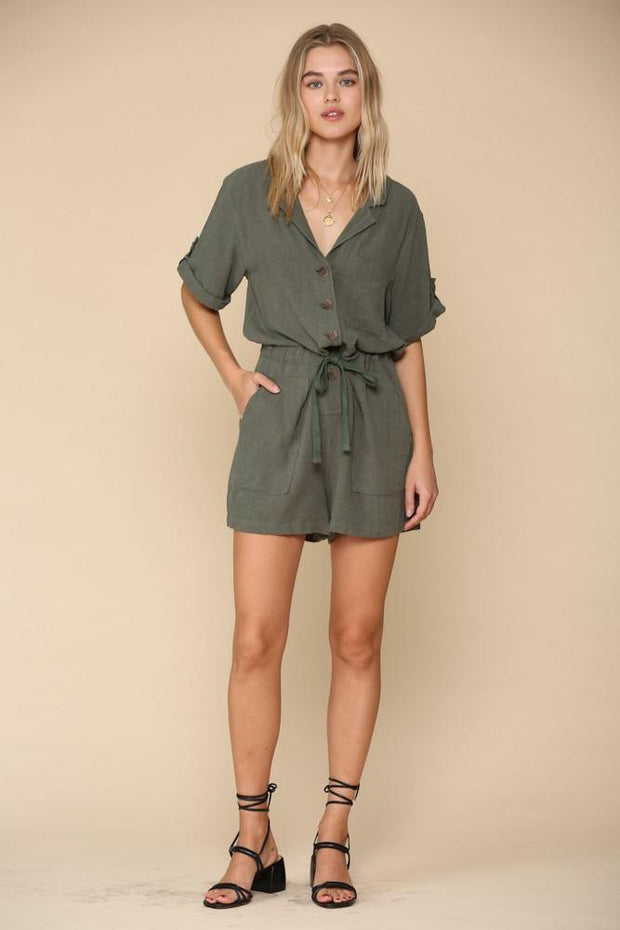 Button Front Olive Romper