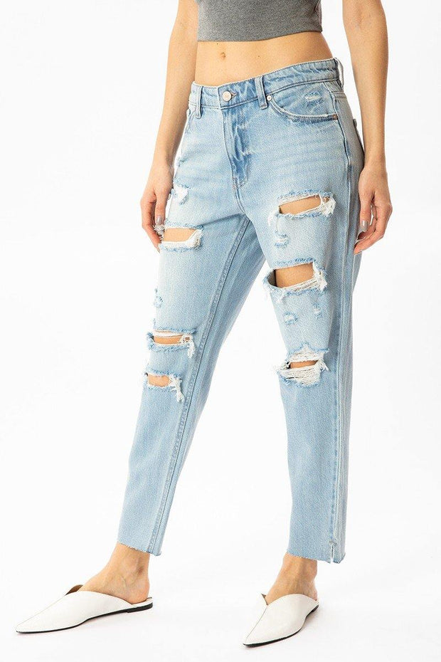 Distressed Mom Jeans - Nigh Road