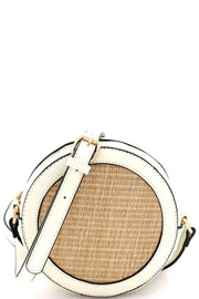 Woven Straw Round Circle Cross Body Shoulder Bag - Nigh Road