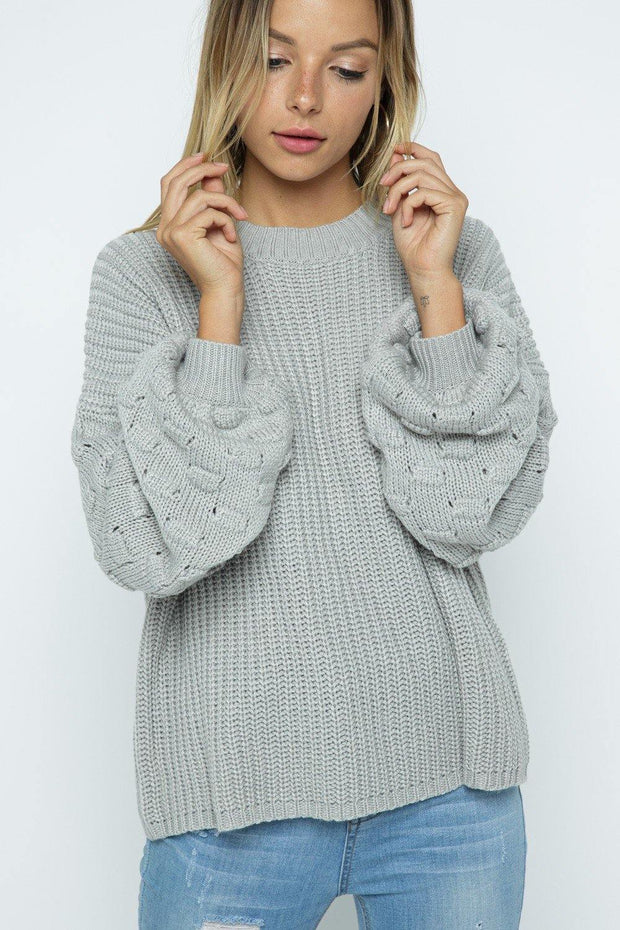 Soft Bubble Knit Embellish Sweater