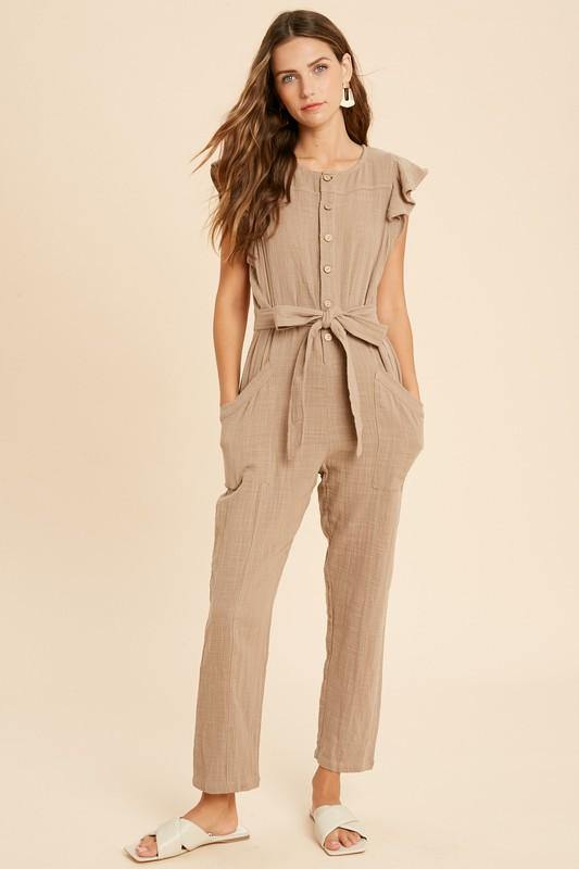 Button Down Ruffle Jumpsuit - Nigh Road