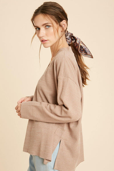 Raw Edge V Neck Top - Nigh Road