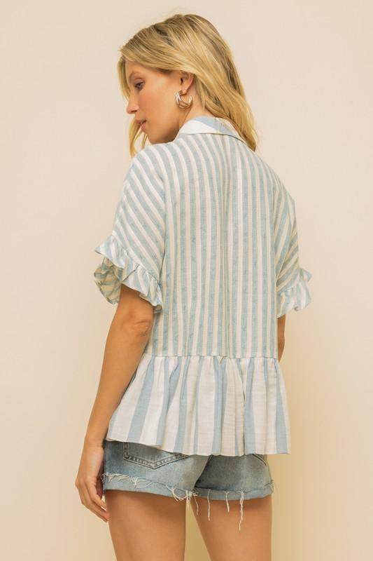 Striped Ruffle Sleeve Shirt - Nigh Road