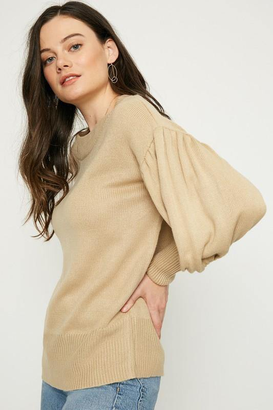 Cuff Detail Pullover Knit Sweater