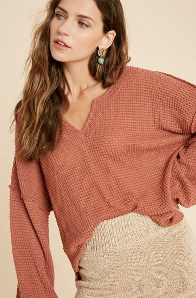 Waffle Detail Knit Top - Nigh Road