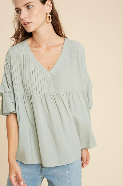 Pleated Top With Flare Sleeve - Nigh Road