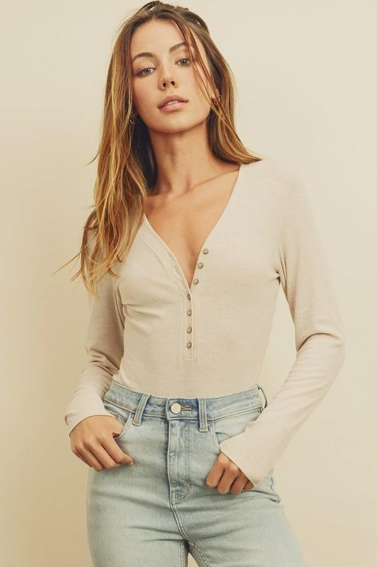 V-Neck Long Sleeve Bodysuit - Nigh Road