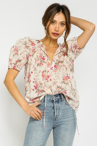 Blushing Blooms Puff Top