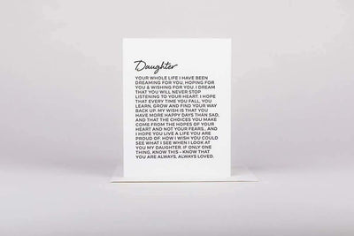 Letter to Daughter Greeting Card