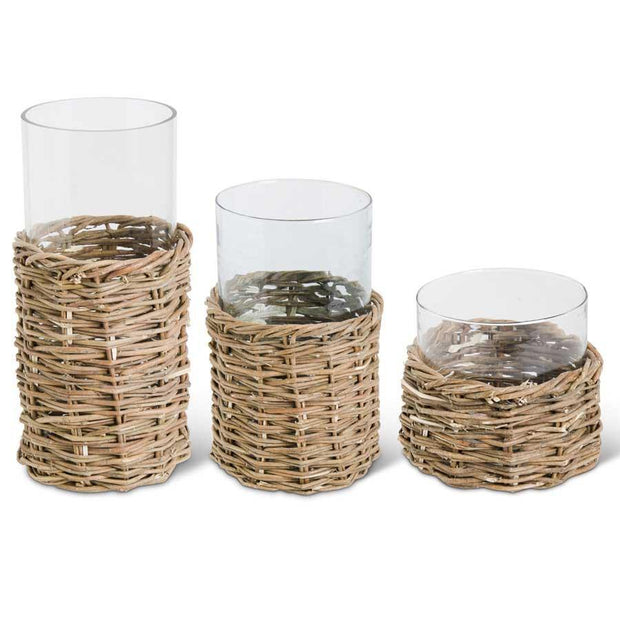 Clear Glass Vase in Woven Rattan Basket - Nigh Road
