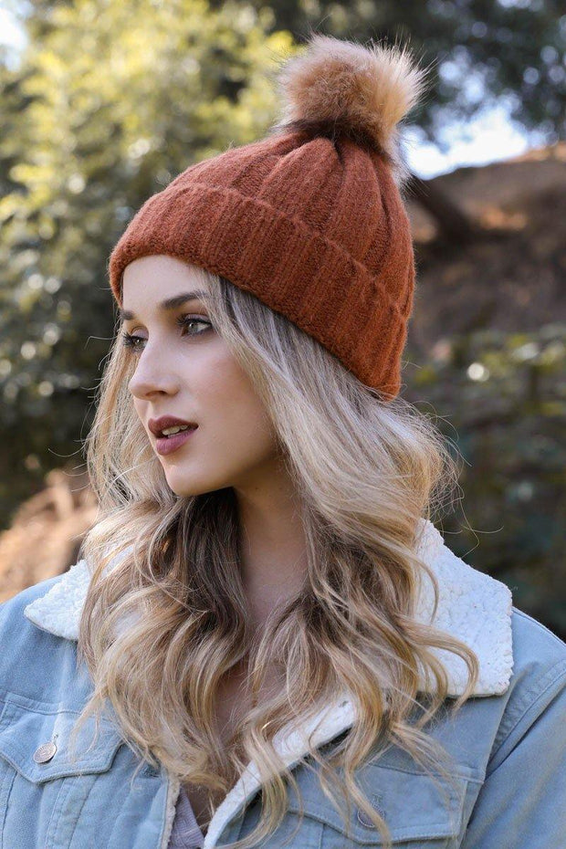 Soft Knit Fur Pom Beanie