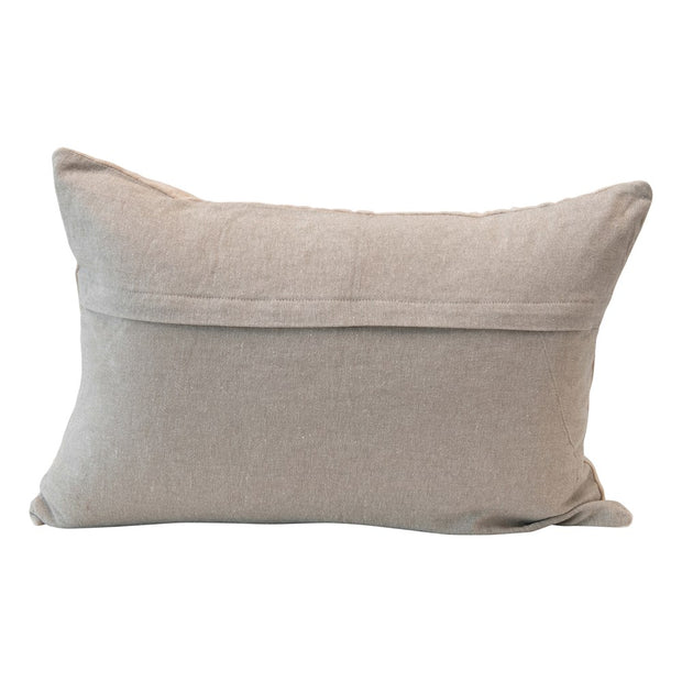 Cotton Velvet Lumbar Pillow w/ Cutwork