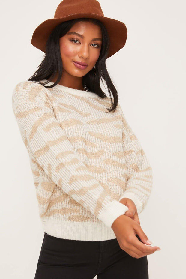 Animal Print Crewneck Sweater Top - Nigh Road