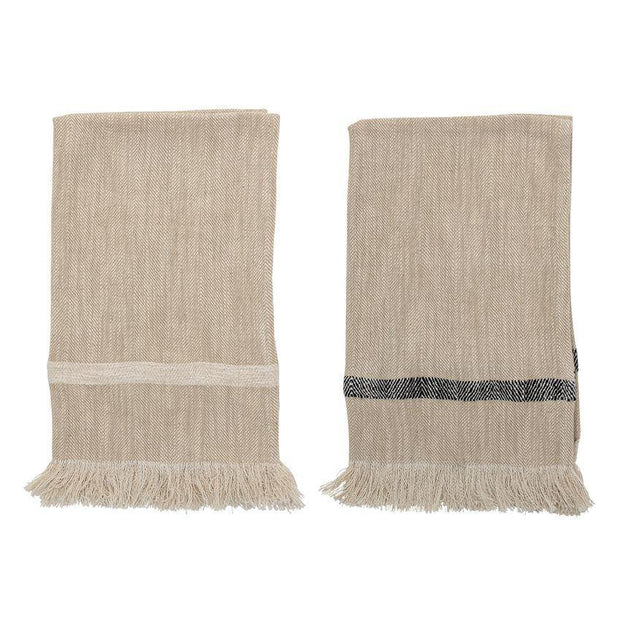 Woven Cotton Striped Tea Towels with Fringe - Nigh Road