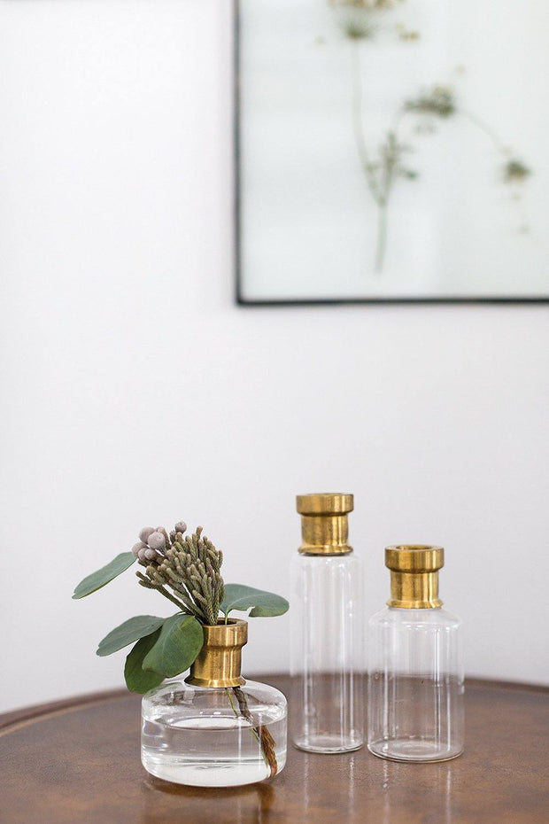 Glass and Brass Bud Vase