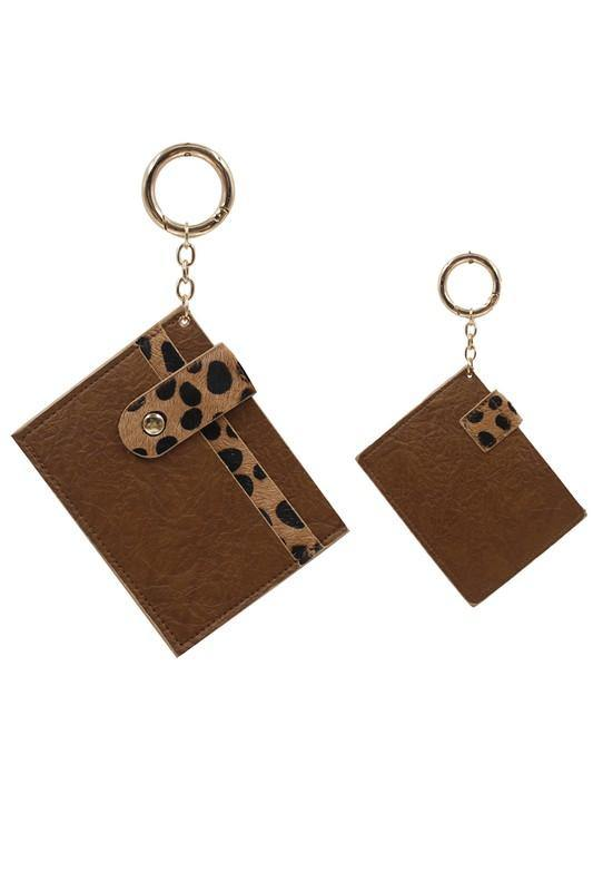 Animal Print Skinny Card Case Key Chain - Nigh Road