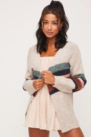 Stripped Open Cardigan - Nigh Road