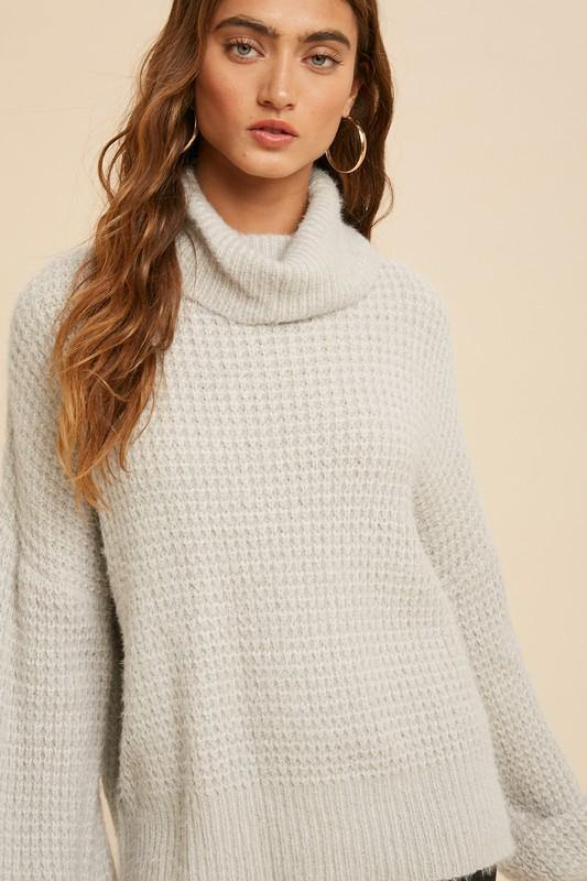 Fuzzy Honeycomb Turtleneck Sweater - Nigh Road