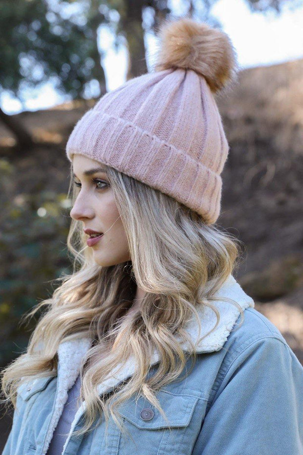 Soft Knit Fur Pom Beanie - Nigh Road